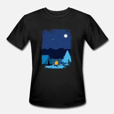 Tent Campfire Camping Tent in Moonlight with Campfire - Men's Sport T-Shirt