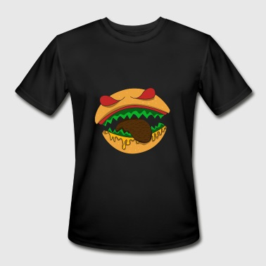 Food With Faces Monster burger teeth face biting food - Men's Moisture Wicking Performance T-Shirt