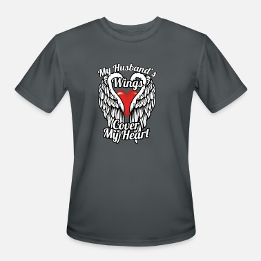 Wing My husband's wings cover my heart - Men's Sport T-Shirt