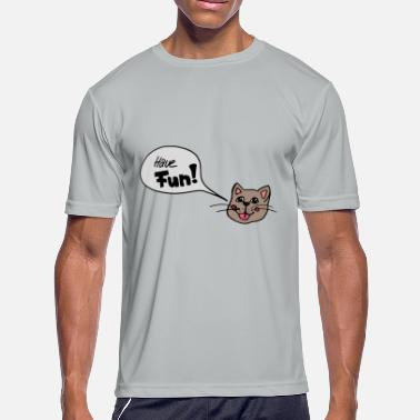 Bubbles Cats sweet cat face with speech bubble , gift idea - Men's Moisture Wicking Performance T-Shirt