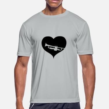 Big Band Trumpet heart music gift big band - Men's Moisture Wicking Performance T-Shirt