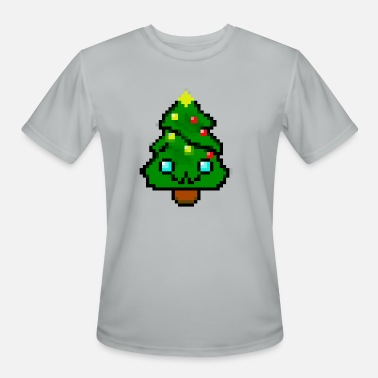 Men/'s Pixel Christmas Tree Graphic Cotton T-Shirt