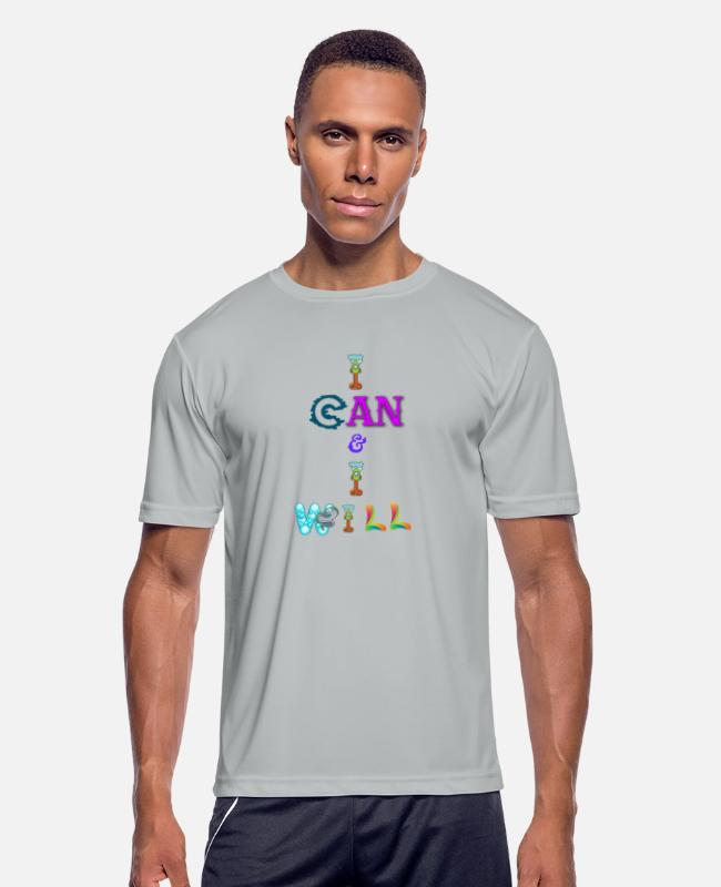 Humourous T-Shirts - I can and I will - Men's Sport T-Shirt silver