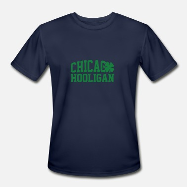 St Patricks Day Hooligans Chicago Hooligan Green Shamrock St Patricks Day - Men's Moisture Wicking Performance T-Shirt