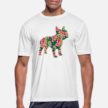 French Bulldog Flower Funny Dog Silhouette Floral - Men's Sport T-Shirt