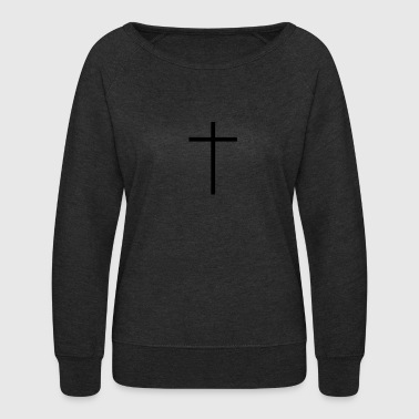 Thin Black Cross - Women's Crewneck Sweatshirt