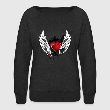 Heart With Wings Winged Heart - Women's Crewneck Sweatshirt