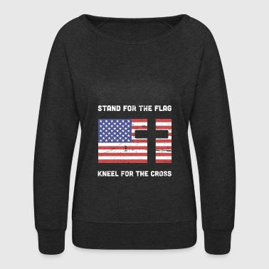 Stand For The Flag, Kneel For The Cross - Women's Crewneck Sweatshirt