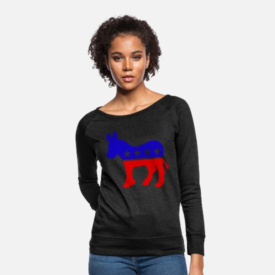 Democrat Hoodies & Sweatshirts - DEMOCRAT DONKEY DEMOCRATS - Women's Crewneck Sweatshirt heather black