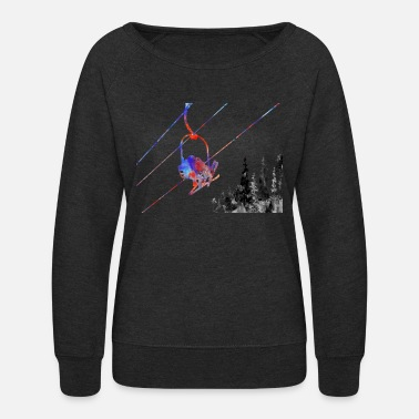 Ski Lift Couple ski lift, couple, ski sport, ski, skiing - Women's Crewneck Sweatshirt