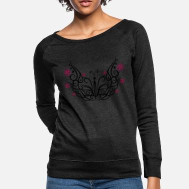 Cherry Blossom Big butterfly with cherry blossoms - Women's Crewneck Sweatshirt