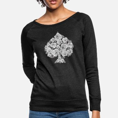 Playing Spade Bouquet of Roses (white) - Women's Crewneck Sweatshirt