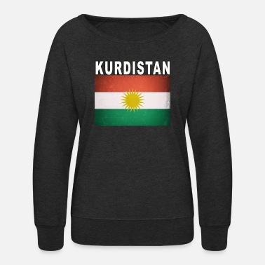 Kurdistan Kurdish Flag Kurdistan Independence Distressed - Women's Crewneck Sweatshirt