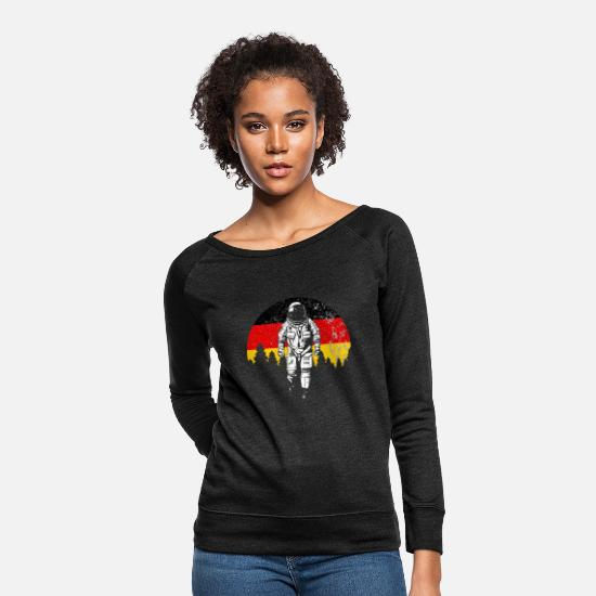 Astronaut Hoodies & Sweatshirts - Astronaut moon Germany flag - Women's Crewneck Sweatshirt heather black