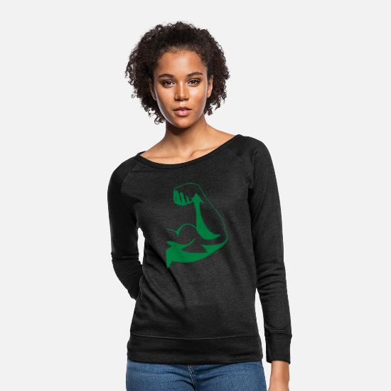 Muscular Hoodies & Sweatshirts - Muscular arm, biceps - Women's Crewneck Sweatshirt heather black