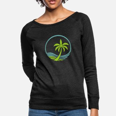 Palm Tree Ocean and Palm Tree - Women's Crewneck Sweatshirt