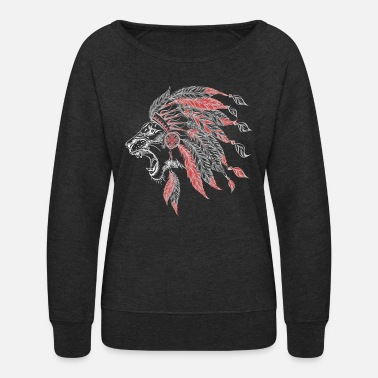 Navajo Lion American Indian Plumage - Women's Crewneck Sweatshirt