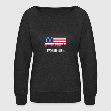 American Flag Washington DC Skyline - Women's Crewneck Sweatshirt