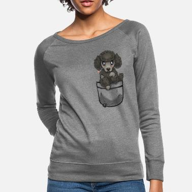 Mama Pocket Cute Poodle Puppy Dog - Women's Crewneck Sweatshirt