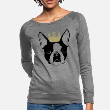 Boston Terriers Boston terrier - Boston Terrier with Crown - Women's Crewneck Sweatshirt