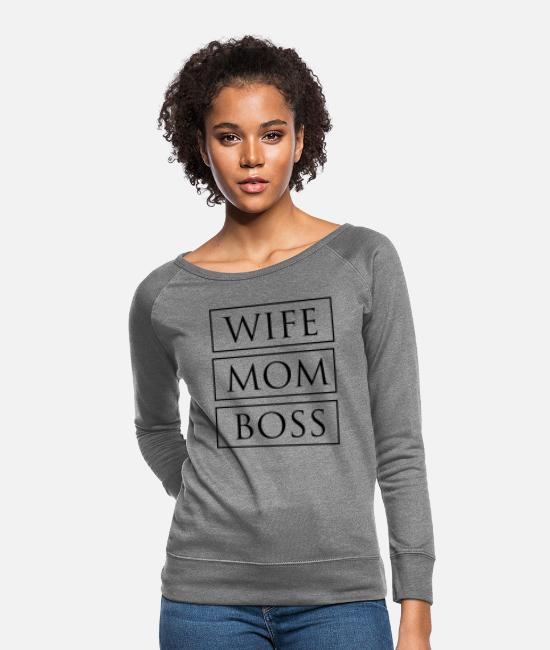 Boss Hoodies & Sweatshirts - Wife Mom Boss - Women's Crewneck Sweatshirt heather gray