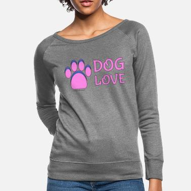Pink Dog paw print Dog Love - Women's Crewneck Sweatshirt