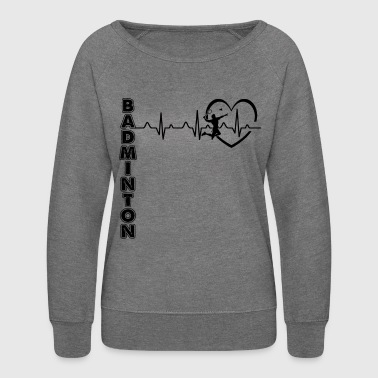 Play Badminton Heartbeat Shirt - Women's Crewneck Sweatshirt