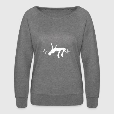 High Jump Sports Athlete Heartbeats Gift - Women's Crewneck Sweatshirt