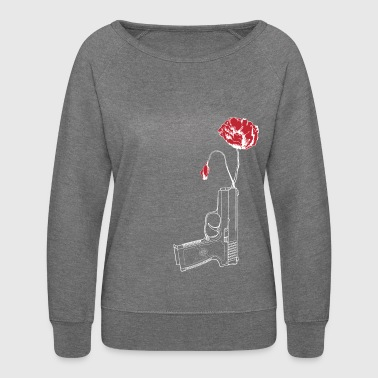 Poppy Flower in Gun Peace Anti-Gun Pro Peace - Women's Crewneck Sweatshirt