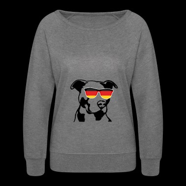 Patriotic Pitbull German Flag - Women's Crewneck Sweatshirt