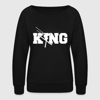 Ski King -Skiing-Winter Sports-Apres Aki-Snow Gift - Women's Crewneck Sweatshirt