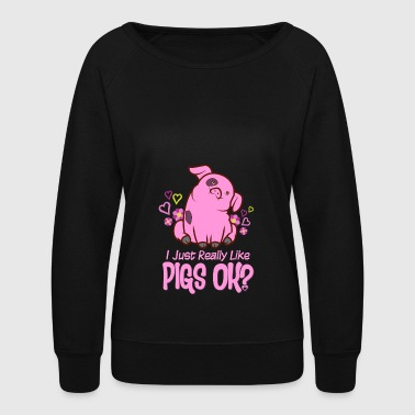 I Just Really Like Pigs - Women's Crewneck Sweatshirt