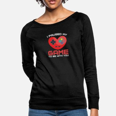 Pause Video Gaming Valentines Day Gift Paused Game - Women's Crewneck Sweatshirt