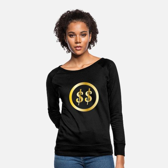 Dollar Hoodies & Sweatshirts - Dollar Sign Dollar Money Money Icons Rich Image - Women's Crewneck Sweatshirt black