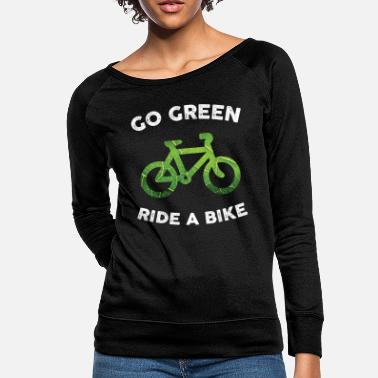 Go Green, Ride a Bike for Dark Fabric - Women's Crewneck Sweatshirt