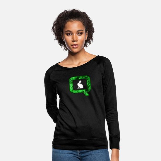 White Hoodies & Sweatshirts - Q QANON Green Follow The White Rabbit - Women's Crewneck Sweatshirt black