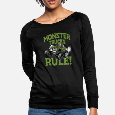 7d702a1b9 Monster Trucks Rule! big tired huge engine - Women's Crewneck Sweatshirt