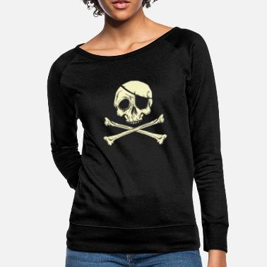 Pirate Flag Bones Pirate Flag skull crossed bones with eye patch - Women's Crewneck Sweatshirt