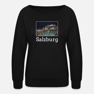Salzburg Salzburg City Skyline Sights Silhouette Landmark - Women's Crewneck Sweatshirt