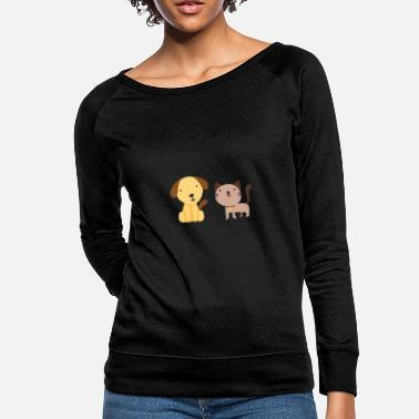 Happiness Cat and dog - Women's Crewneck Sweatshirt