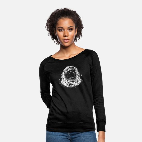 Crowd Hoodies & Sweatshirts - Crowd Spaceman - Women's Crewneck Sweatshirt black