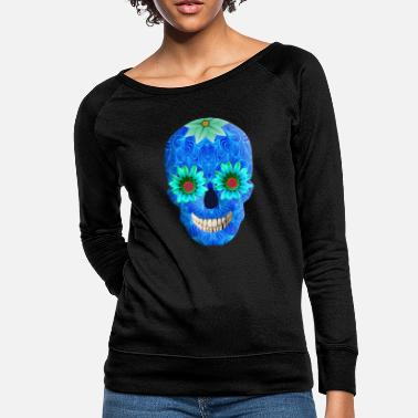 Funky Blue Day Of The Dead Skull - Women's Crewneck Sweatshirt