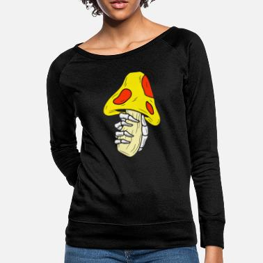 Mushroom And Hand Skull - Women's Crewneck Sweatshirt