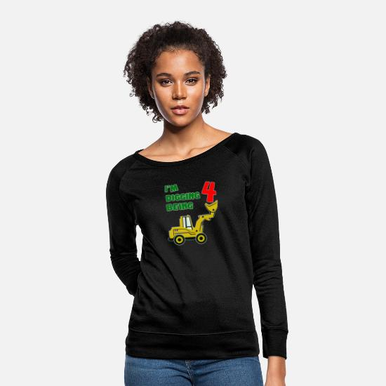 Rock 'n' Roll Hoodies & Sweatshirts - TeeStars 4th Birthday Bulldozer - Women's Crewneck Sweatshirt black