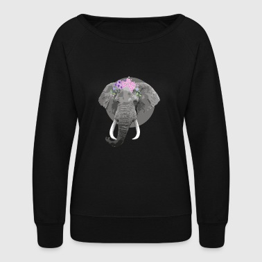 Flower Elephant - Women's Crewneck Sweatshirt