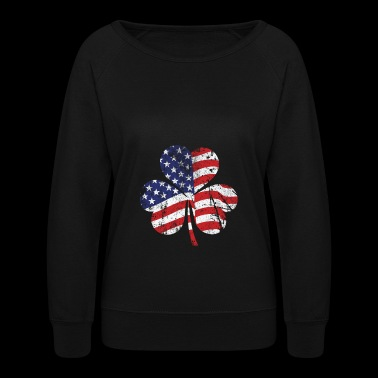 Irish Clover American Flag - Women's Crewneck Sweatshirt