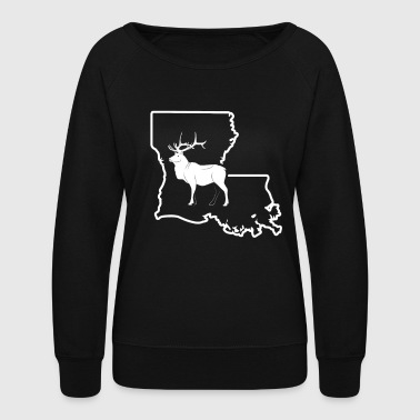 Big Game Hunting Louisiana Elk Bow Hunting Shirt - Women's Crewneck Sweatshirt