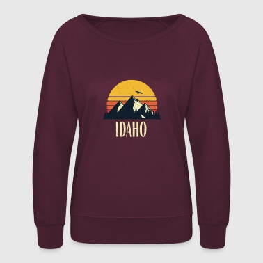 Rocky Mountains Idaho Retro Vintage State Mountain Sunset - Women's Crewneck Sweatshirt