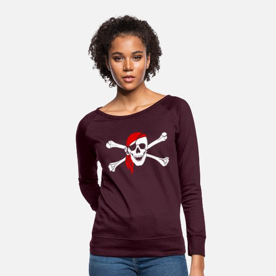 Pirate Hoodies & Sweatshirts - Skull and bones - Women's Crewneck Sweatshirt plum