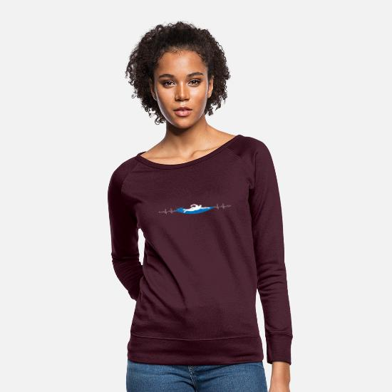 Quotes Hoodies & Sweatshirts - Swimming heartbeat - Women's Crewneck Sweatshirt plum